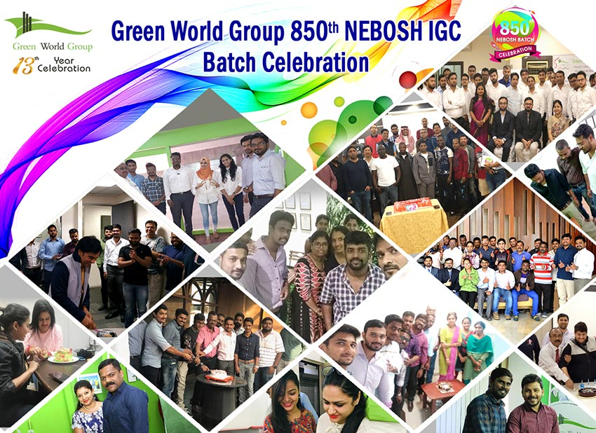 Green World is delighted to announce the simultaneous milestone celebration of 850th Nebosh IGC batch