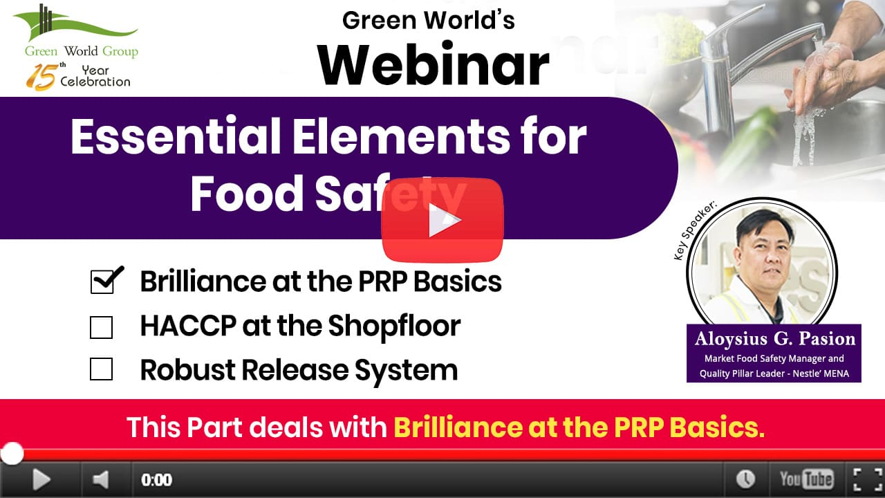 HACCP & Essentials of Food Safety – Brilliance at PRP Basics