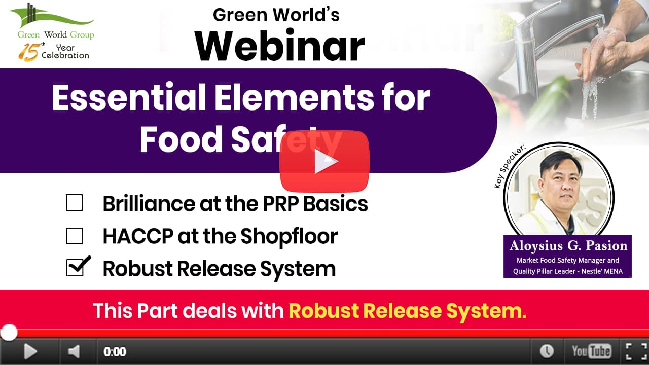 HACCP & Essentials of Food Safety – Robust Release System